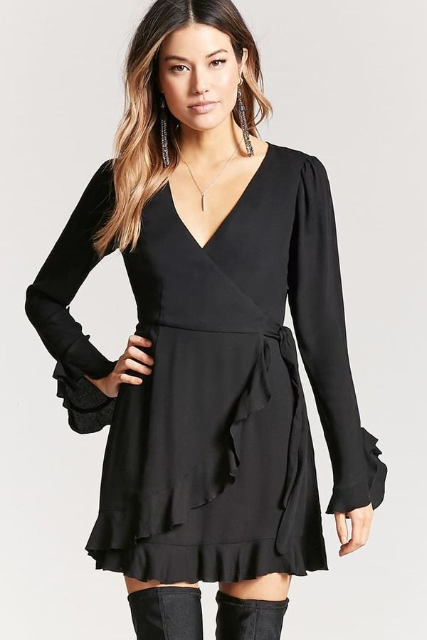 af8223b35efd LOVE 21 Ruffle Mock Wrap Dress