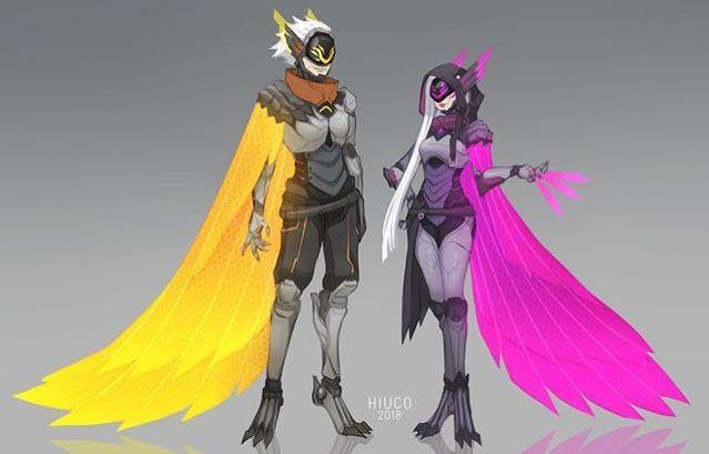 Xayah & Rakan Project Skin Fanart - League of Legends - cre