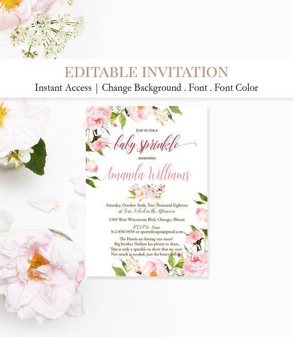 floral sprinkle invitation baby girl sprinkle invite peo
