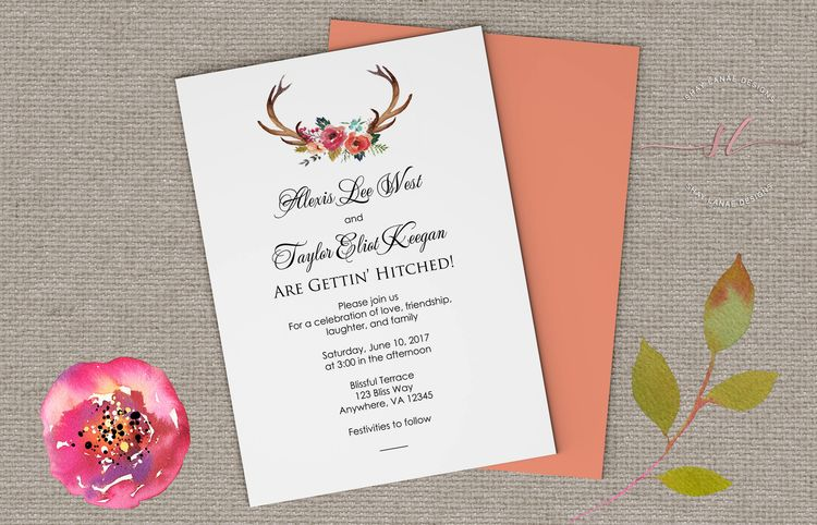 Getting Hitched Wedding Invitation Country We Re Deer Antler Invitations