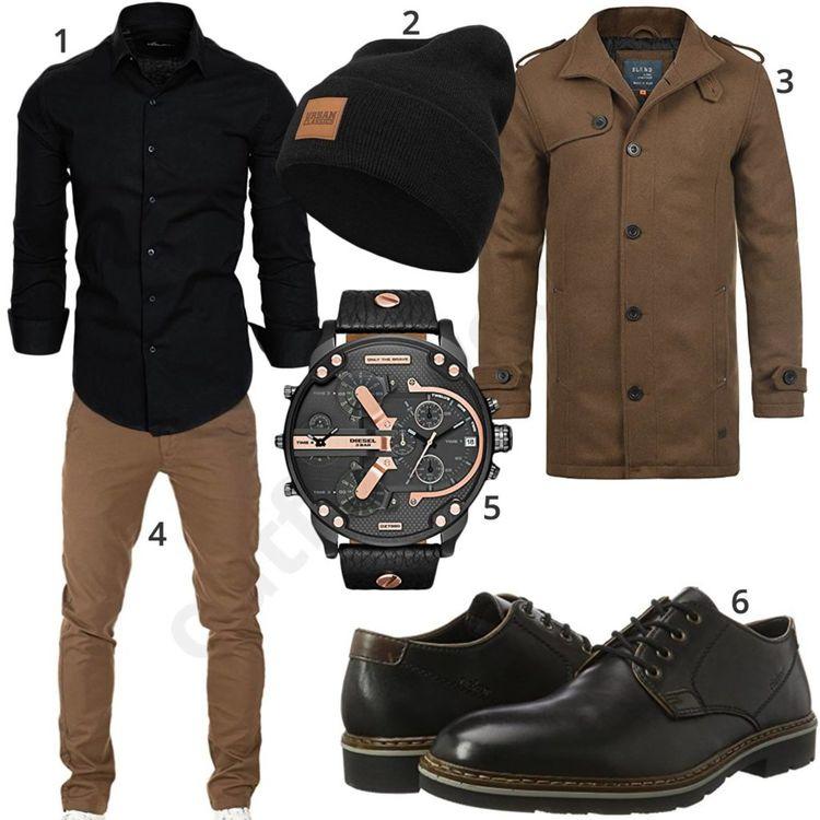 Braun-Schwarzes Herrenoutfit mit Hemd und Wollmantel 950693189a