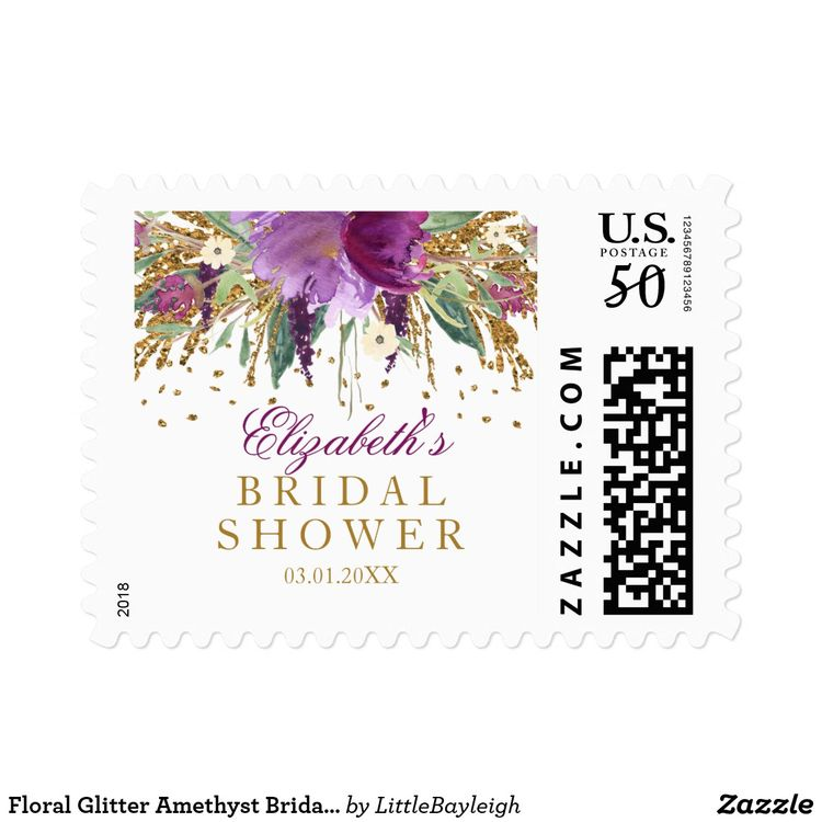 floral glitter amethyst bridal shower stamp