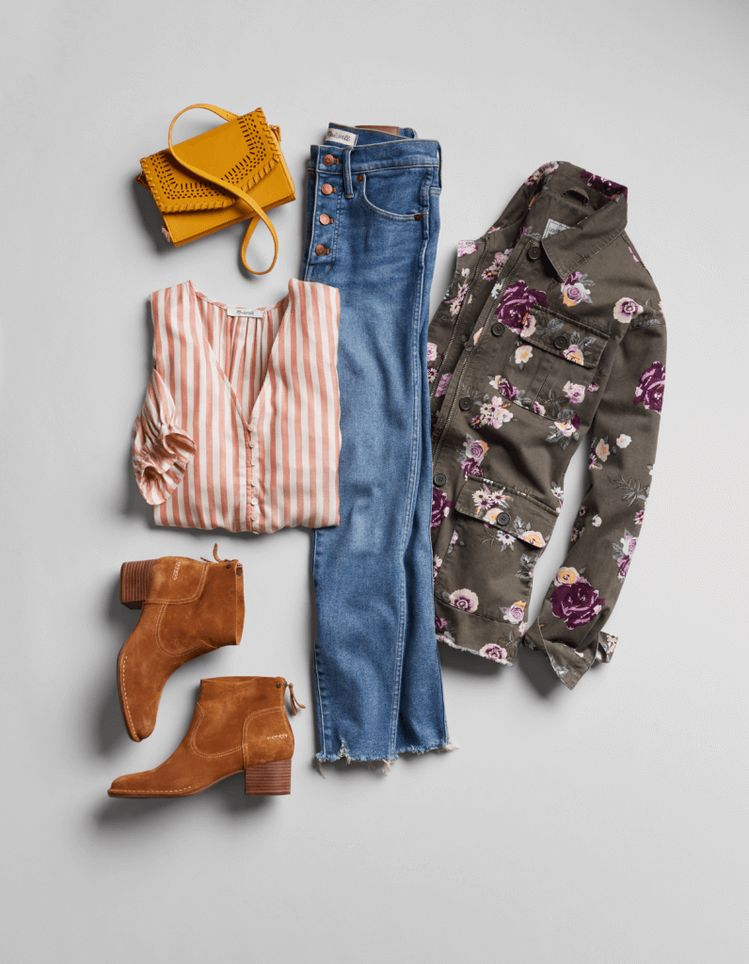 These jeans are cute - I like the color and freyed hem. I like the floral jacket too.