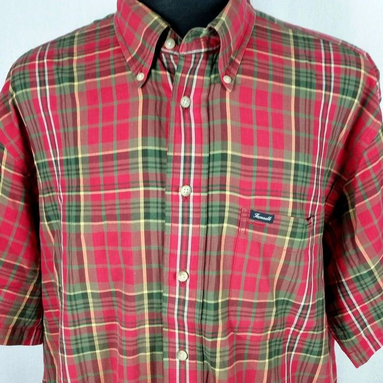 4356d62c Facconable Mens XL Shirt Red Green Plaid Dress Casual Button Front  Christmas #Faonnable
