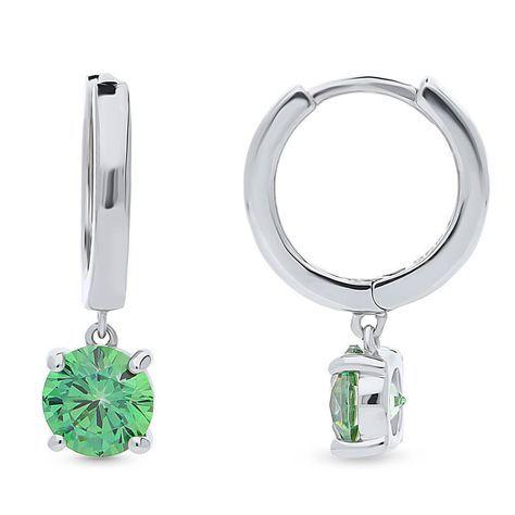 Glitzs Jewels 925 Sterling Silver Cubic Zirconia CZ Stud Earrings for Women 6mm Light Green Square