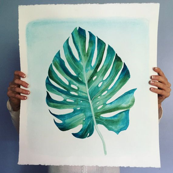 Monstera Leaf Original Painting 22x19 Acrylic on by RachaelRiceArt