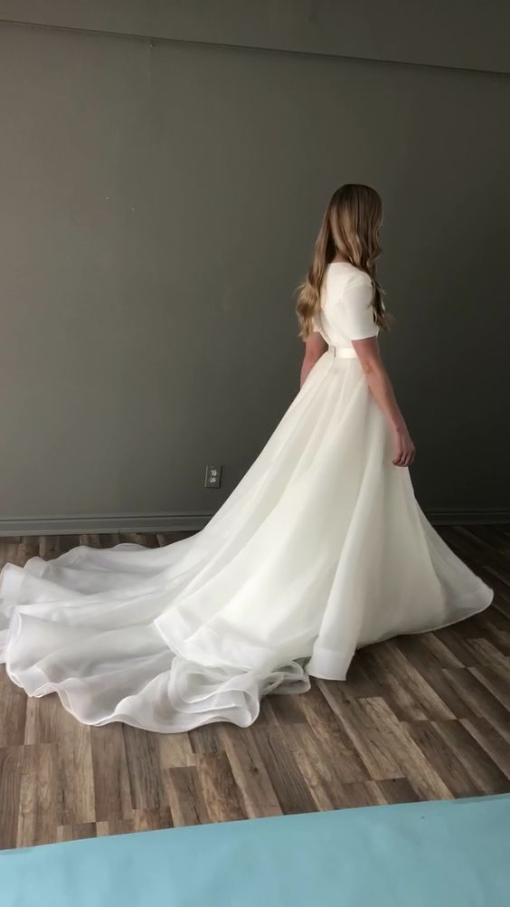 Modest wedding drress to inspire ,white tulle wedding dress prom dress