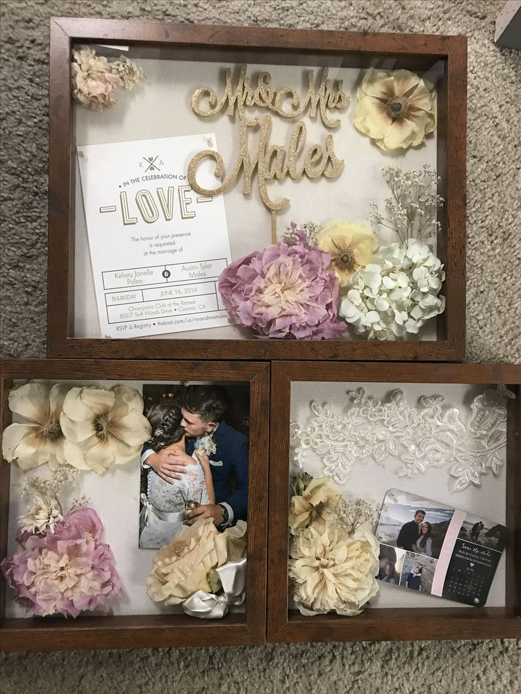 Wedding Shadow Box Flowers From Bouquet Invitation Cake
