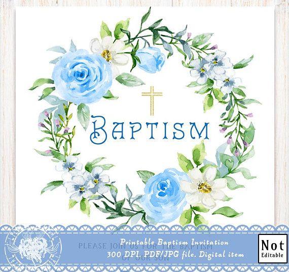 printable baptism invitation boy christening invitation b