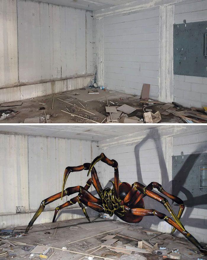 Artista de rua português pinta grafite de criatura 3D e não é para os fracos de coração (39 fotos)