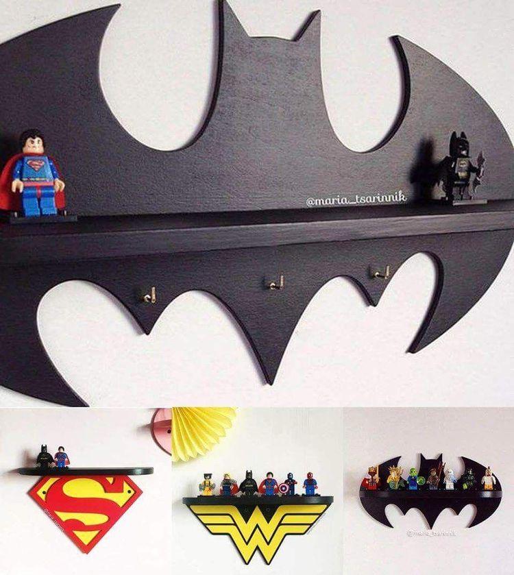 superman wonderwoman and batman shelf great for man cave