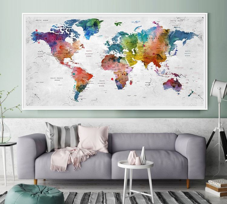 Push Pin Travel Map of World Watercolor Map Push Pin Ma