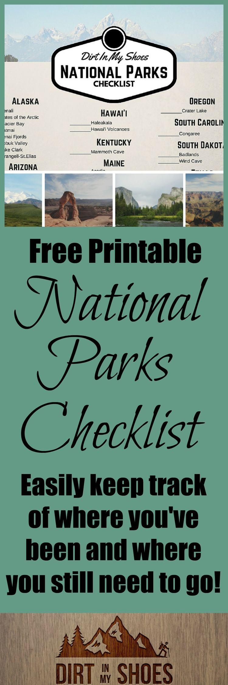 FREE National Parks Checklist!