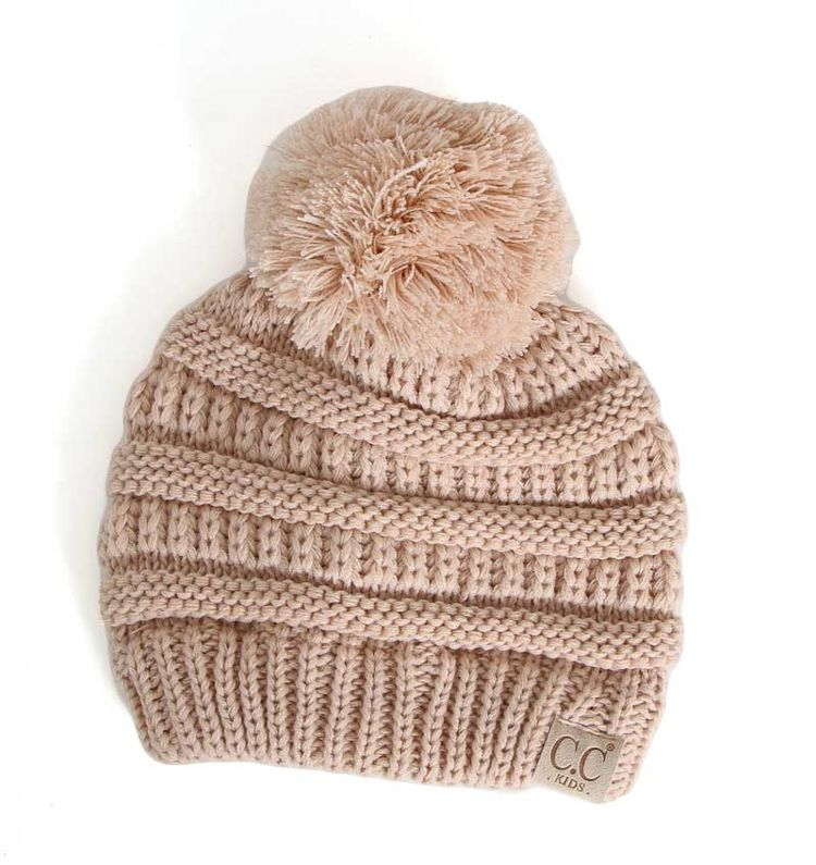 10668714a24 C.C. Beanie Cable Knit Beanie with Pompom for Kids in New