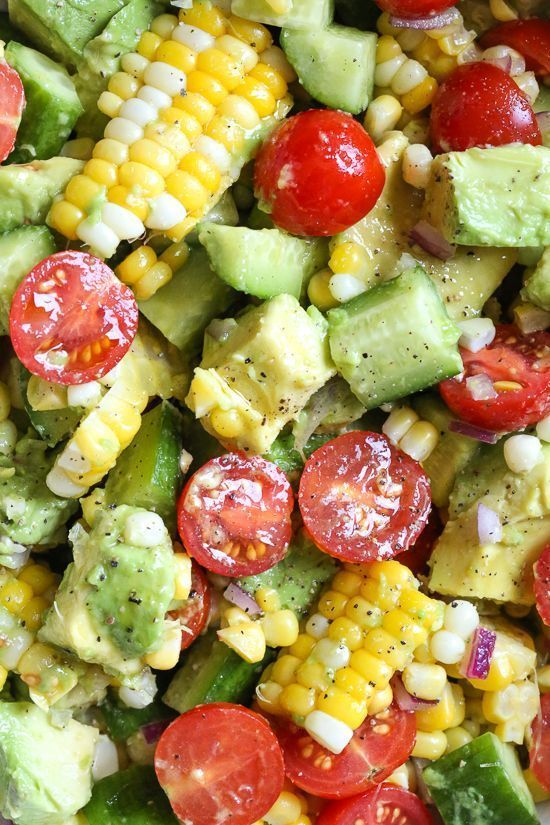This Corn Tomato Avocado Salad is summer in a bowl! The perfect side dish with anything you're grilling, or double the portion as a main dish. #food #healthyrecipes #healthyfood #healthyeating #healthy #food #recipe