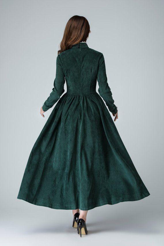 b24ecf4ef6 Green dress, corduroy dress, maxi dress, winter dress, bridesmaid dress,  vintage dress, prom dress, wedding dress, handmade dress 1471
