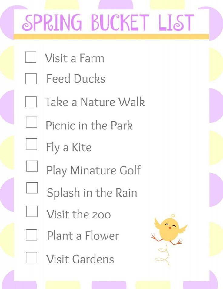 Spring Bucket List for Kids and Families  Fun Spring Activ