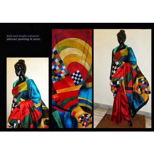 31c5cedf21 Bishnupur Sonamukhi Silk Hand Painted Saree with Bold and Bright Abstract  painting - Online Shopping for