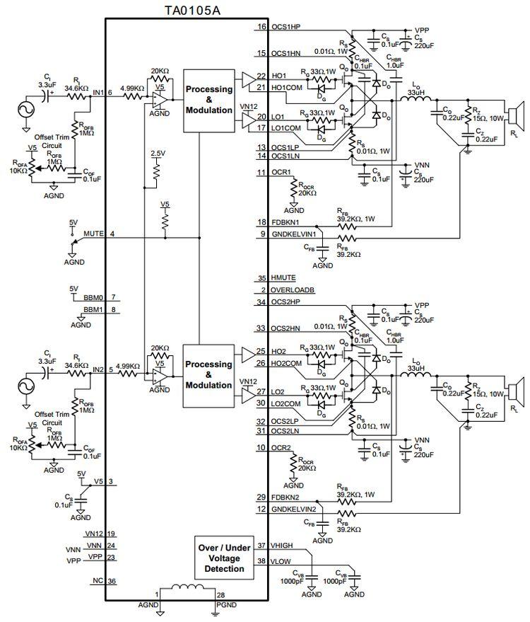 2x500w Power Amplifier Circuit Ta0105a Amplifiercircuits