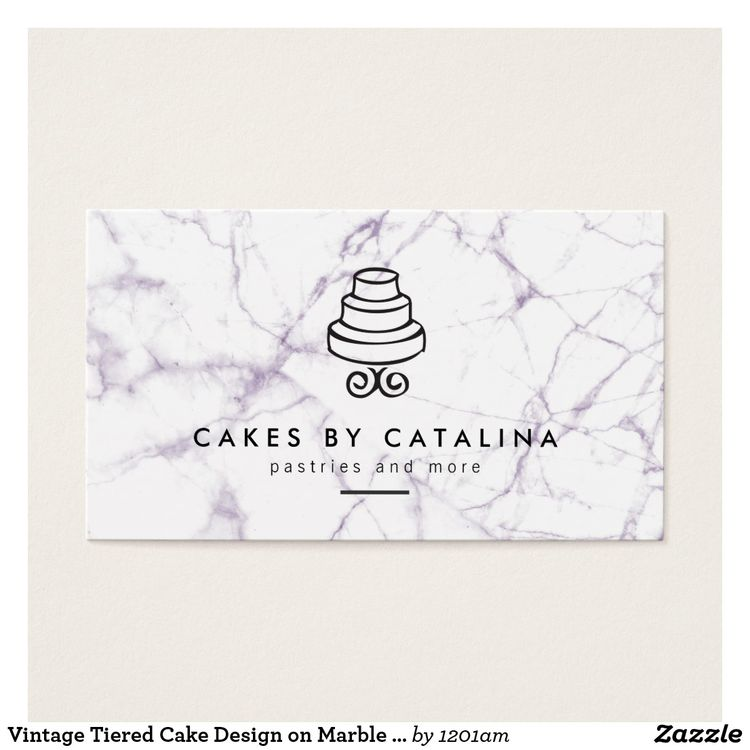 vintage tiered cake design on marble bakery business card