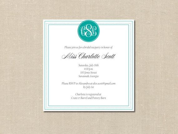 custom monogram bridal shower invitation printable diy card