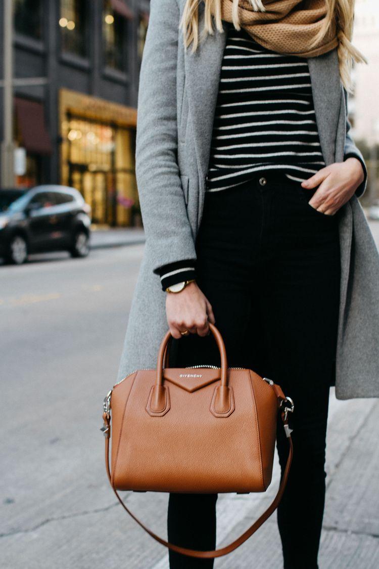 blonde woman wearing zara grey wool coat tan scarf black white striped sweater  black skinny jeans givenchy cognac antigona satchel fashion jackson dallas  ... ae1ec71fabca4