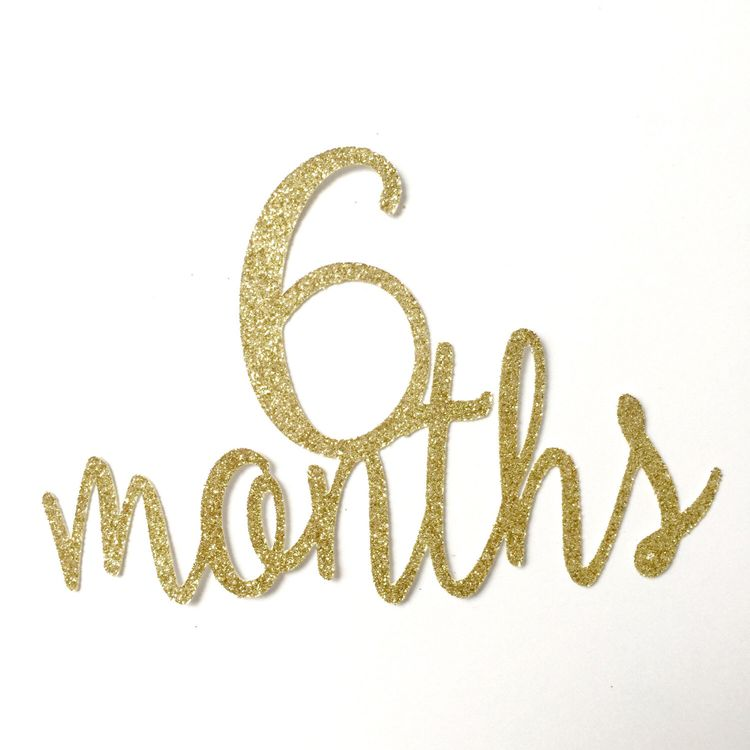 Gold Glitter 6 Months Birthday Cake Topper Half 1 2