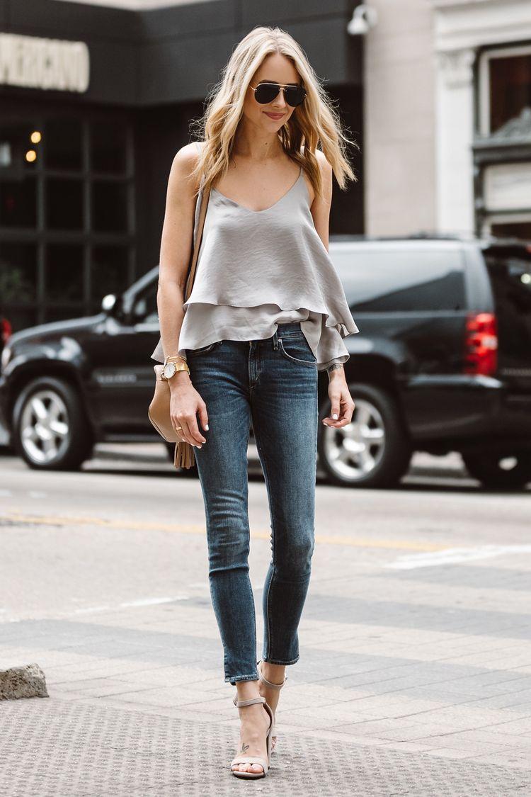 511c23d5 Fashion Jackson, Dallas Blogger, Fashion Blogger, Street Style, Grey Ruffle  Cami,