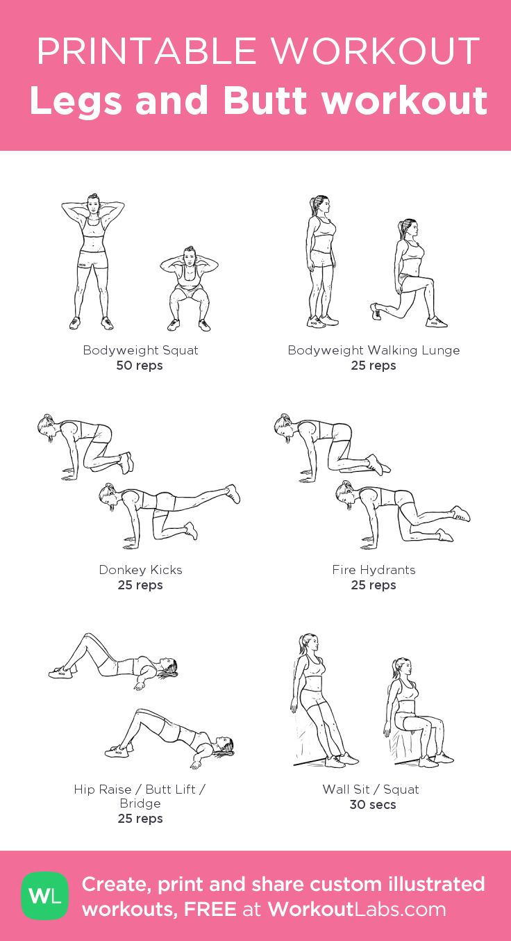 picture about Printable Arm Workouts identified as Legs and Butt exercise session · WorkoutLabs Healthy