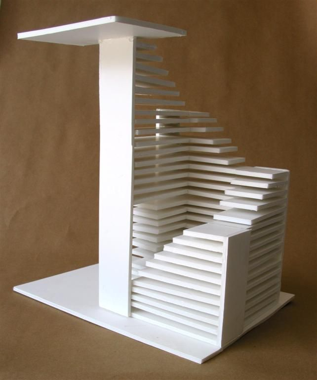 Clara Lieu, RISD Pre College Design Foundations, Staircase Sculpture  Assignment, Foam Board U0026 Hot Glue, 2006