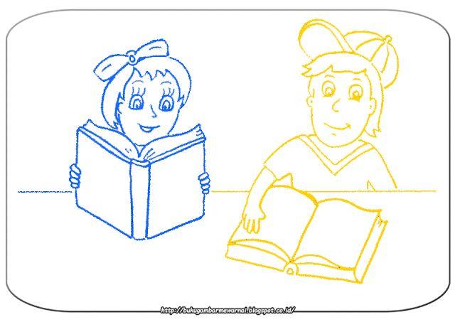 Gambar Mewarnai Mewarnai Gambar Anak Membaca Buku Gam