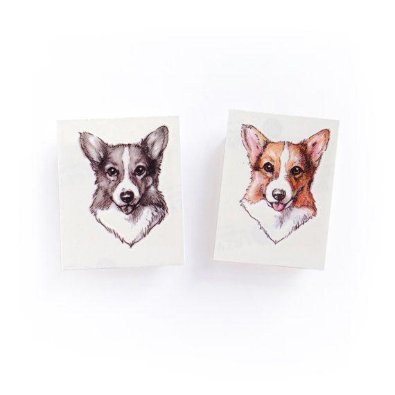 Animal Watercolor Temporary Tattoo Stickers Corgi Tattoos C