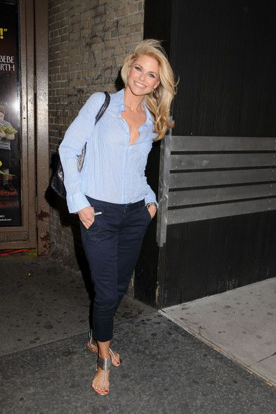 """Christie Brinkley arriving at the Ambassador Theatre to .perform in the Broadway play """"Chicago"""" in New York City."""