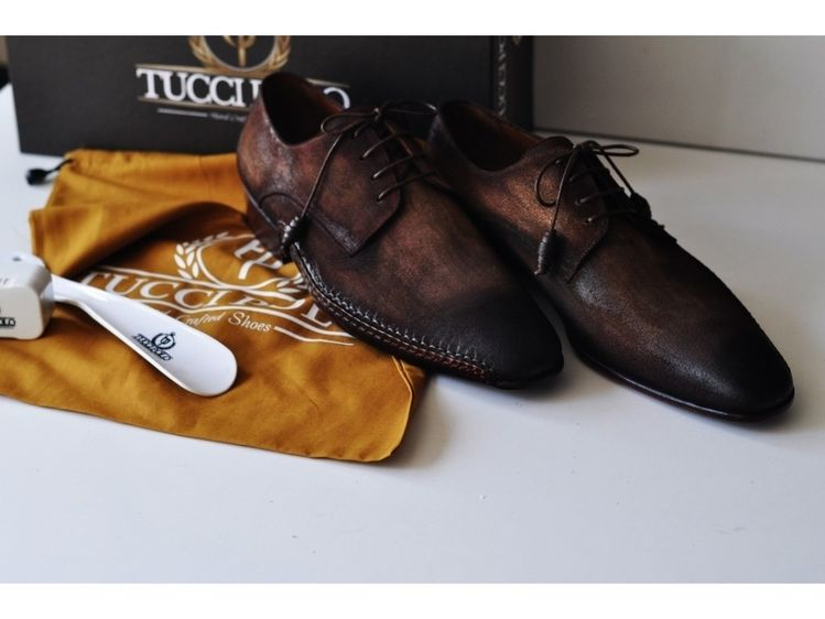529ba1d9a58 TucciPolo Mens Derby Style Luxury Shoe - Side Handsewn Bleached Brown Suede  Upper and Leather Sole
