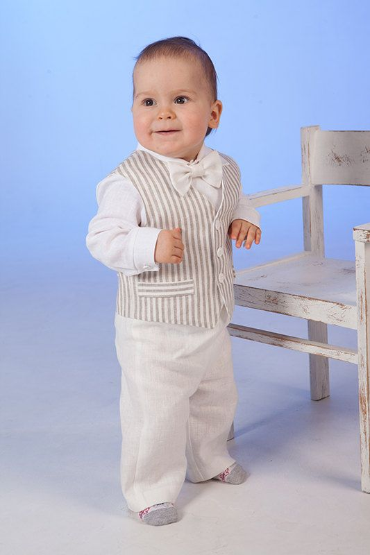 86f5c309 Baby boy linen suit Ring bearer outfits Baptism formal outfits Boy 1st  birthday outfit Rustic wedding baby suit Boy striped vest pants shirt