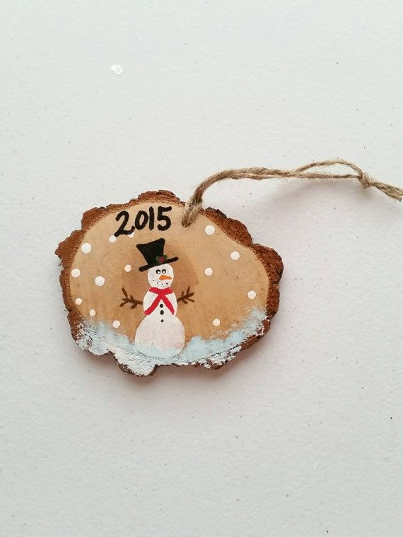 Handmade Hand Painted Wood Slice Christmas Ornament Pai