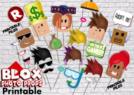 Roblox Birthday Printable Photo Booth Props Party Decor Video Game Decorations