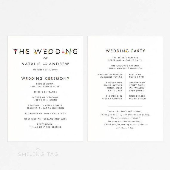 printable wedding program printable garden botanical wedd