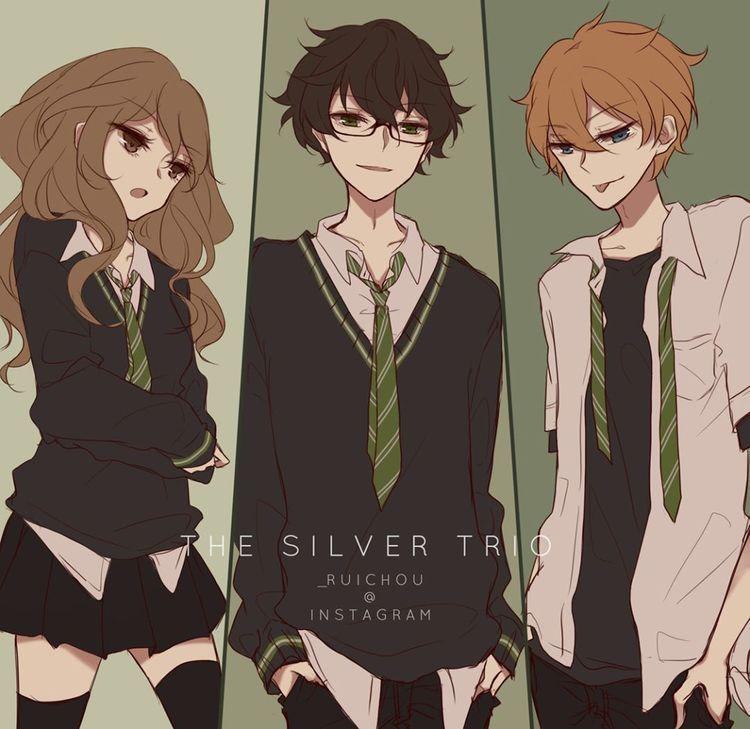 """◇ RUI no Instagram: """"Ei, olha, é o trio de ouro - não.  E se eles estivessem todos na Sonserina?  .  .  #harrypotter #hermione #ron #sonserina # thegoldentrio…"""