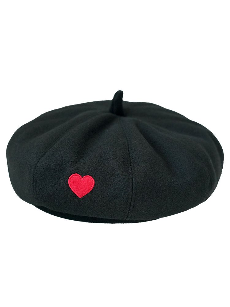 820250d6ef067 Heart Embroidery Pumpkin Beret Hat