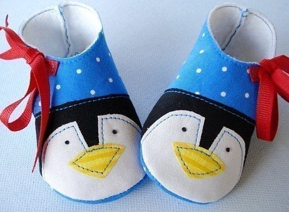 a6517bad485b6 PDF ePattern - Penguin and Plain Baby Shoes Sewing Pattern