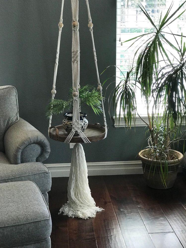 Macrame hanging table,macrame shelf,hanging table,floating shelf,macrame plant hanger,unique bedside tables,boho decor,macrame,tables
