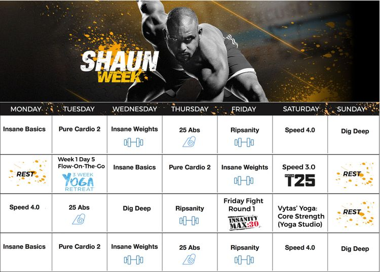 Shaun Week, 30 day calendar, Calendar, Workouts, Melanie Mi