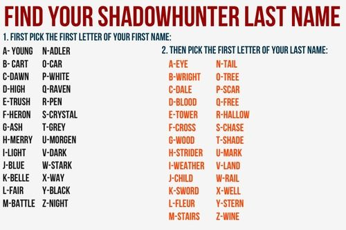 Shadowhunter names. ................................................................... @cartwright0265 YOU'RE NOT ALLOWED TO BE A HERONDALE!!!