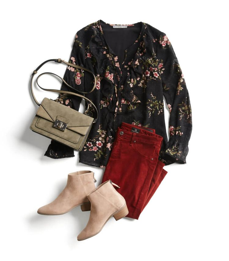 I don't think I could pull off those colors or not, especially in the pants, but i like this look.  I love floral tops.  I like those shoes, but I'm sure I couldn't justify the cost to own shoes of that style and color that I couldn't wear often.