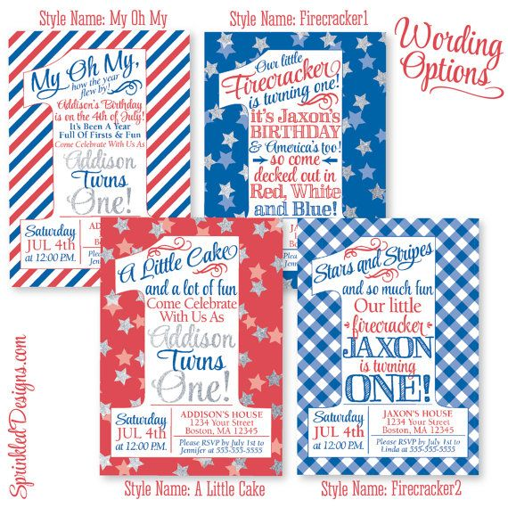 4th Of July Birthday Invitations Little By SprinkledDesign