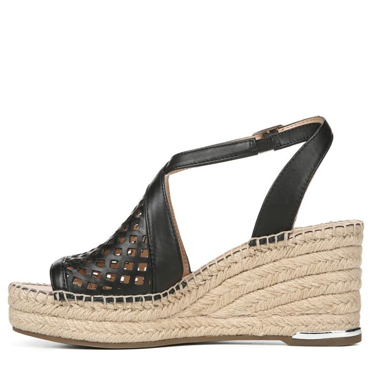 4993880336 Franco Sarto Women's Celestial Espadrille Wedge Sandals (Black Leather)