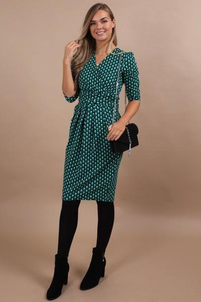 605f0c20bc88f7 Augusta Green Wrap Front Midi Dress