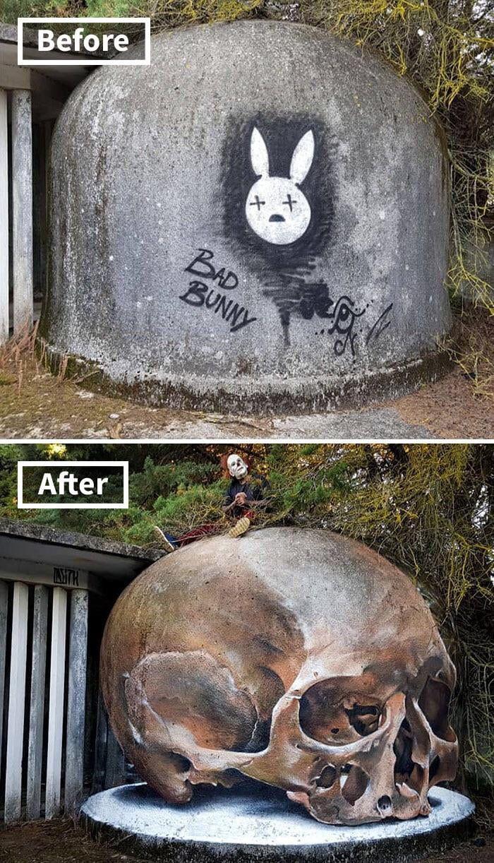 Transformação de graffiti pelo artista de rua português Odeith