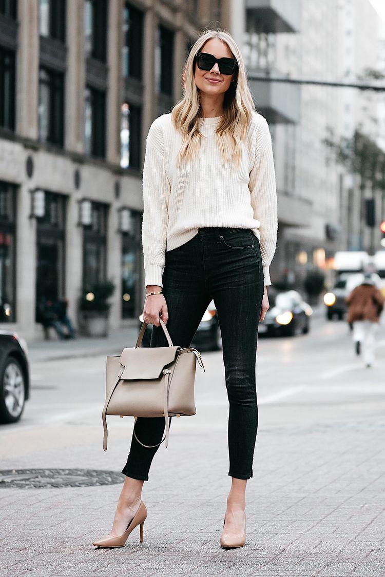 b2fef51b83f6 Blonde Woman Wearing Jcrew Off White Oversized Sweater Rag and Bone Black  Skinny Jeans Nude Pumps Celine Mini Belt Bag Fashion Jackson Dallas Blogger  ...
